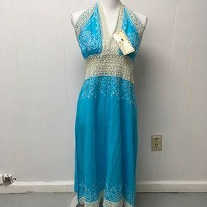 India Boutique Maxi Dress Crochet Embroidered Aqua